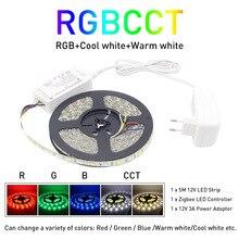 Zigbee ZLL 5M 5050 SMD Link สมาร์ท LED Strip Light ชุด ZIGBEE RGBCCT RGBWW LED แถบกันน้ำ IP65 DC 12V