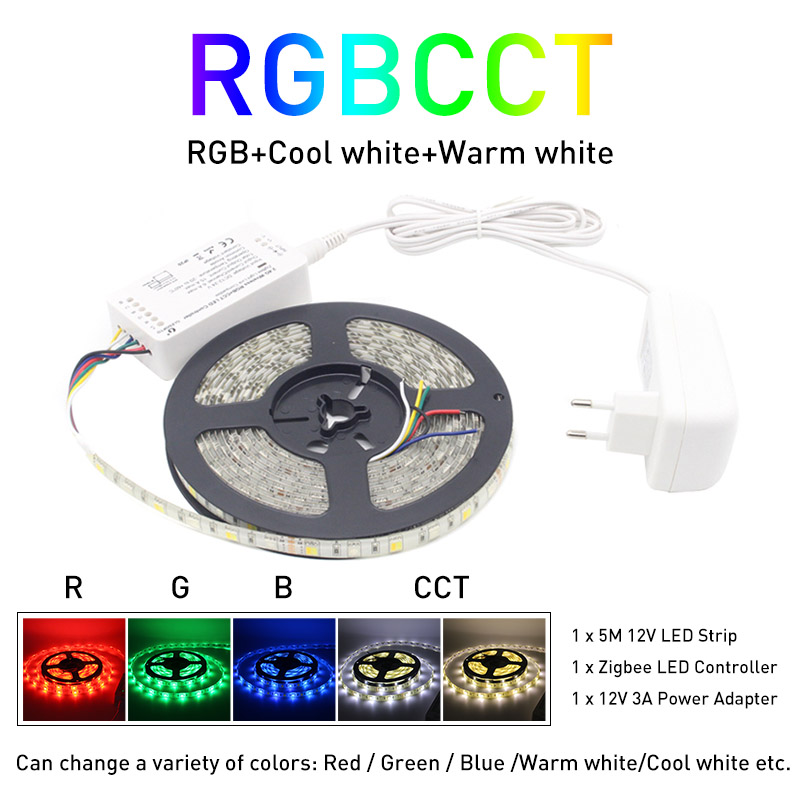 Zigbee ZLL 5M 5050 SMD Link Smart LED Strip Light Set ZIGBEE RGBCCT RGBWW Controller Stripe Tape Waterproof IP65 DC 12V
