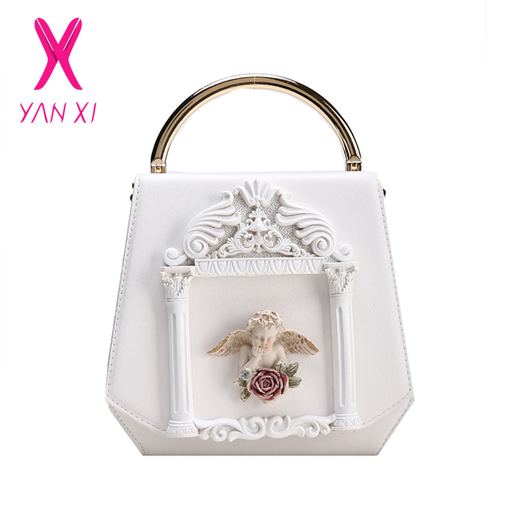 YANXI 2018 Fashion Angel Cupid Box Shape Pu Leather Pearl Chain Shoulder  Bag Handbag Party Purse Women s Crossbody Messenger Bag-in Top-Handle Bags  from ... fb670e4b16d9