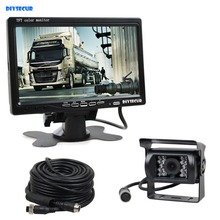 12V-24V 7 inch TFT LCD Car Monitor + 4pin IR Night Vision CCD Rear View Camera For Bus Houseboat Truck цена