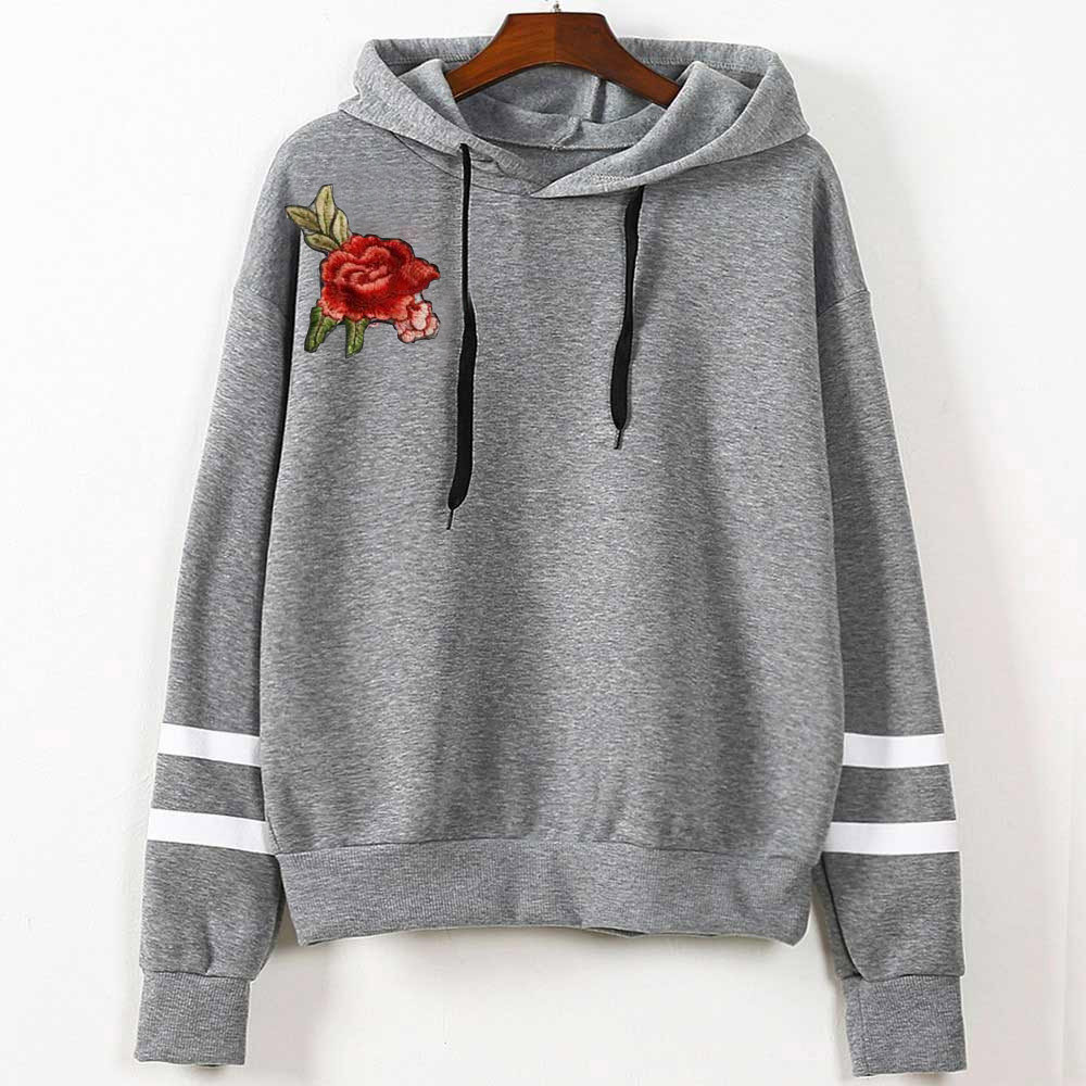 Free Ostrich High Quality Autumn Women Embroidery Applique stripe Long Sleeve Hoodie Sweatshirt Hooded Pullover Tops Blouse