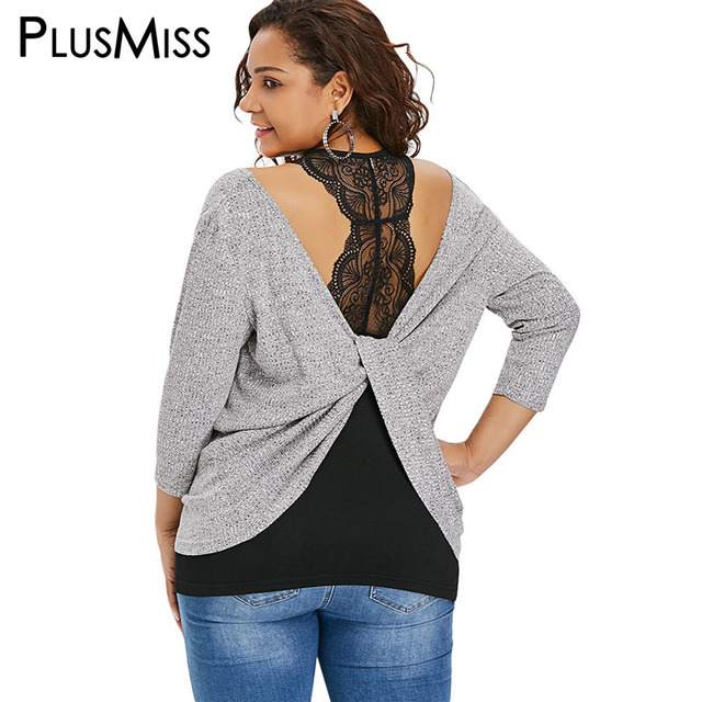 f78a79b1a30 PlusMiss Plus Size 5XL V Neck Lace Backless Knitted Tops Women Big Size  Long Sleeve XXXXL XXXL XXL Open Back Blouse Autumn 2018