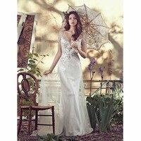 Wedding Dress 2017 New Style Tulle A Line Appliques Beaded Floor Length Bridal Custom Made Bridal