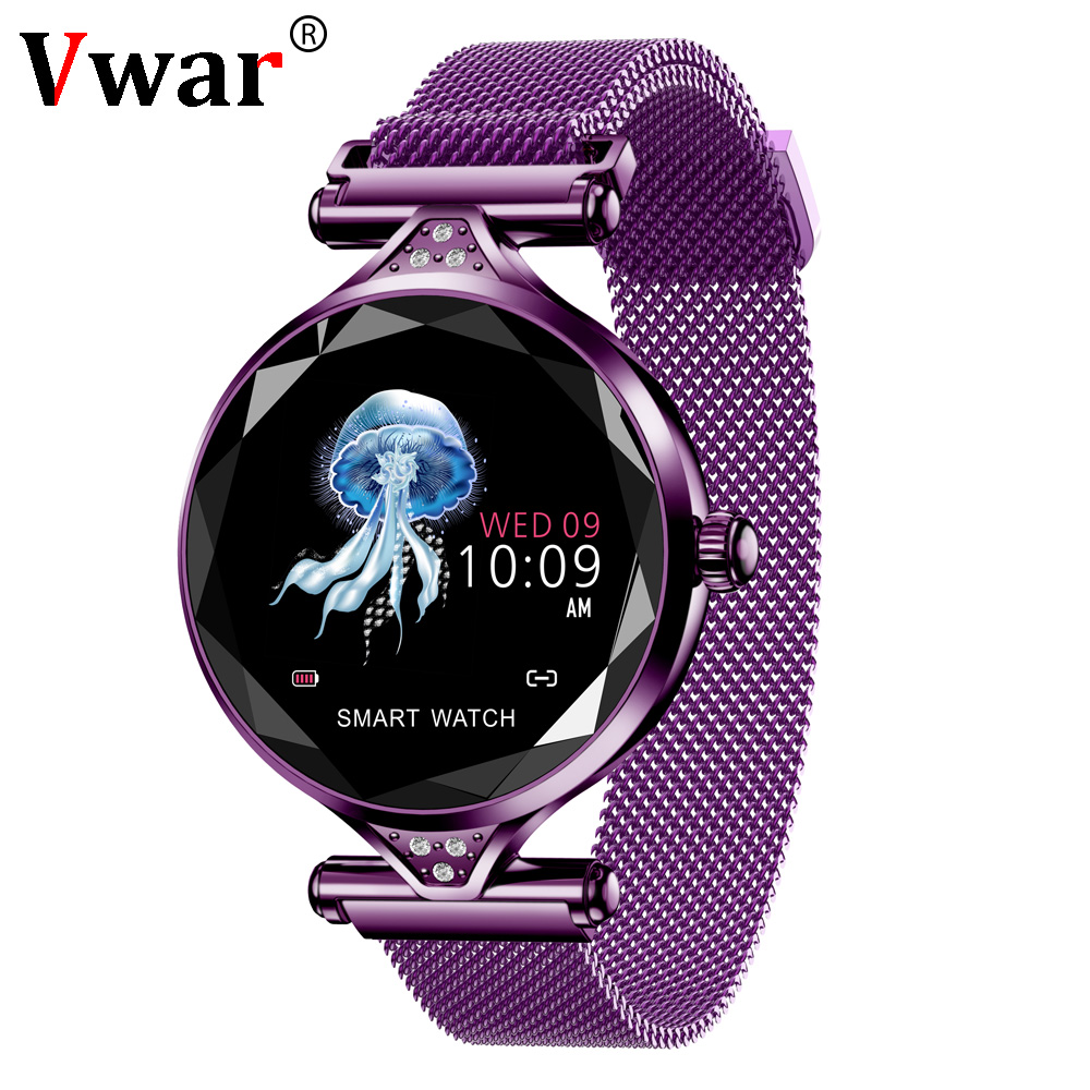 Vwar H1 Women Smart Watch 3D Diamond Glass Heart Rate Blood Pressure Sleep Monitor Best Gift