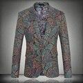 Homens Blazer Floral impressão 2016 primavera cantor pPrformance Slim Blazer personalizado moda Outerwear casaco