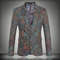 Mens Floral Blazer Print Suit 2016 Spring Male Singer pPrformance Jacket Slim Blazer Men's Personalized Fashion Outerwear Coat
