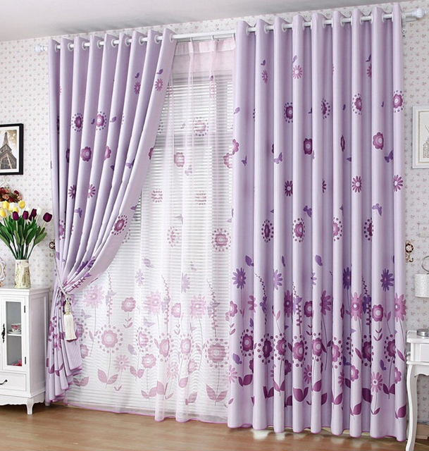 Double Sided Drapes : Double sided light purple curtains bedroom living room