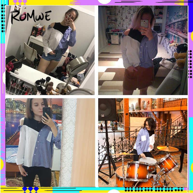 fe8044e05a58 ... ROMWE Contrast Patchwork Shirt Blouse Women Asymmetric Open Shoulder  Sexy Tops Fall Fashion Striped Casual Dip