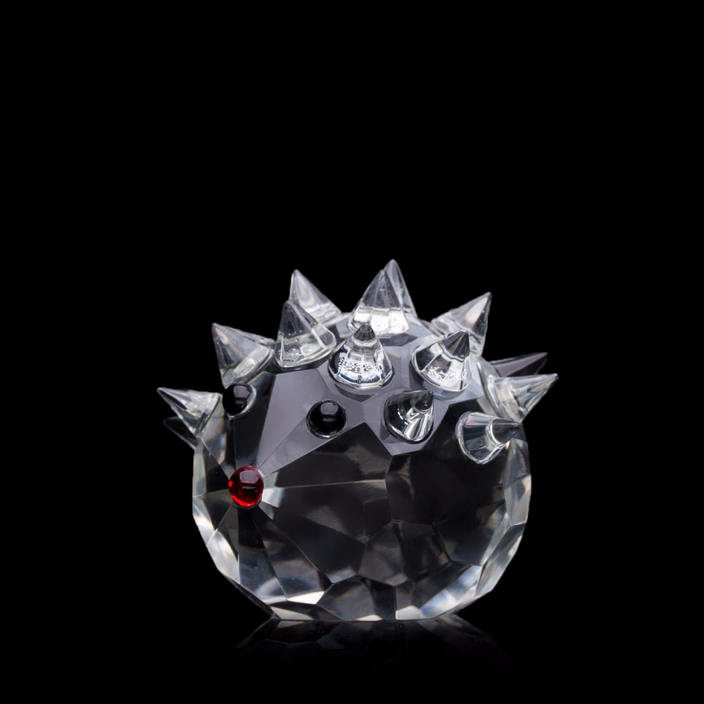 Miniature crystal ornaments - 1 Pc Cute Crystal Glass Miniature Hedgehog Animal Figurines Paperweight Art Collection Feng Shui Home