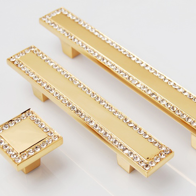 64mm 24k gold drawer pulls antique brass plating zinc alloy diamond