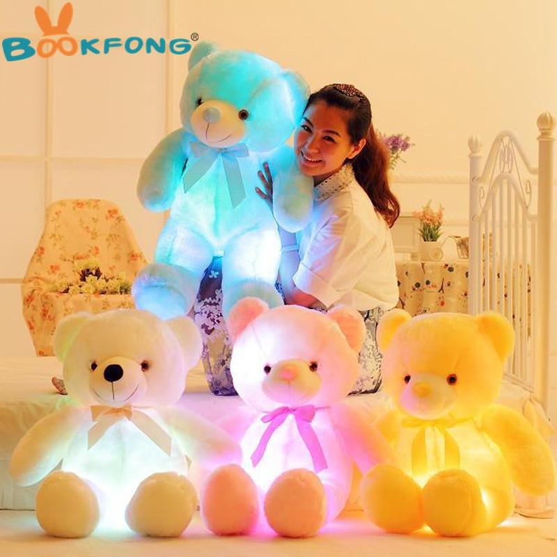 BOOKFONG 50 cm creativo luz LED oso de peluche animales de peluche de felpa de juguete que brilla intensamente colorido oso de peluche de regalo de Navidad para los niños