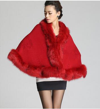 autumn and winter cloak coat women medium long faux fox fur collar cardigan knitted shawls and wraps AS 36