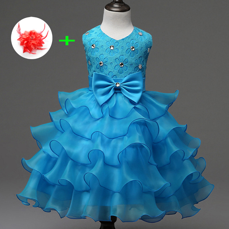 Toddler Party Dress Children Clothes One Pieces 2-7y White Pink Blue Red Kids Princess Evening Girls Pageant Dresses Gowns Baby fashion kids girls toddler baby lace princess party dress clothes 2 7y