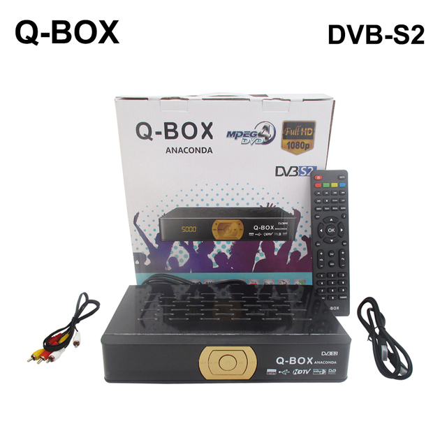 US $29 9 |Q Box DVB S2 Satellite Receiver Support USB WiFi Youtube PowerVu  Biss Key + 1 Year Clines Cccam for Spain Europe 1080P IPTV Box-in Satellite