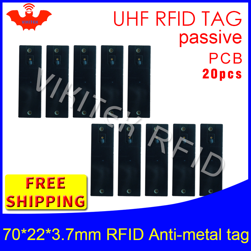 UHF RFID metal tag 915m 868m EPC 20pcs free shipping fixed-assets management 70*22*3.7mm rectangle PCB passive RFID tags uhf rfid metal tag 915m 868m epc iso18000 6c 20pcs free shipping tools management 12 7 1 2mm thin ceramics passive rfid tags