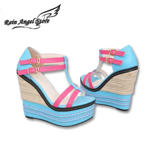 2016 Весна Лето Новый Женская Обувь Сандалии Платформы Высокой Пятки Многоцветная Пряжки Клин Сандалии с Открытым носком Моды Сладкий Для дамы