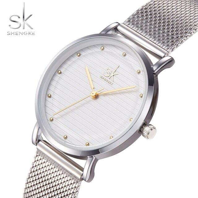 SK Top Luxury Brand Fashion Womens Watches Clock Women Steel Mesh Strap Silver B