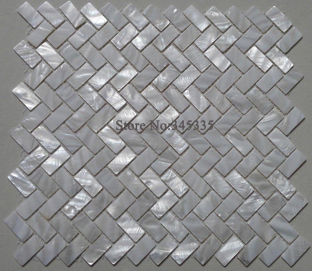 € 18.38 |Coquille blanche mosaïque carrelage nacre cuisine douche fond TV  salle de bain dosseret mur zip chevrons papier peint carreaux-in Fonds ...