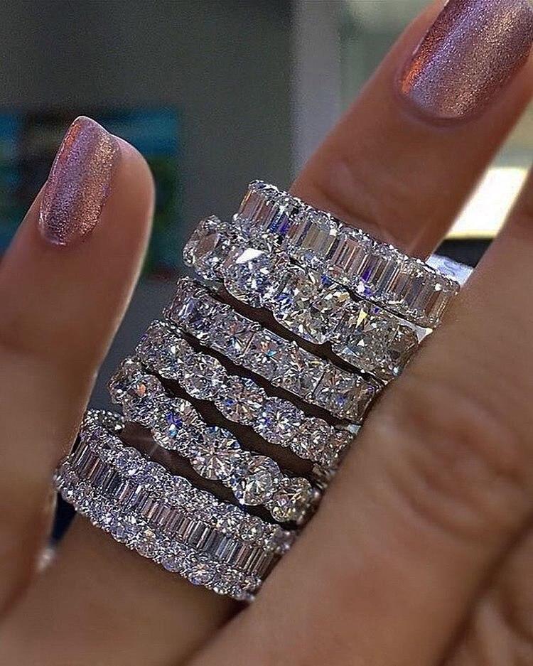 925 PRATA PAVE DEFINIR PRAÇA CHEIA de Diamante Simulado CZ ETERNITY BANDA DE NOIVADO CASAMENTO Anéis de Pedra Tamanho 5,6, 7,8, 9,10, 11,12