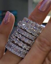 925 prata pavimentar definir quadrado completo simulado diamante cz eternity banda noivado casamento anéis de pedra tamanho 5,6,7,8,9,10,11,12