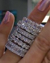 Anillos de piedra de boda de compromiso de banda ETERNITY de CZ de diamante simulado cuadrado completo de ajuste de pavé de plata 925 tamaño 5,6,7,8,9,10,11,12
