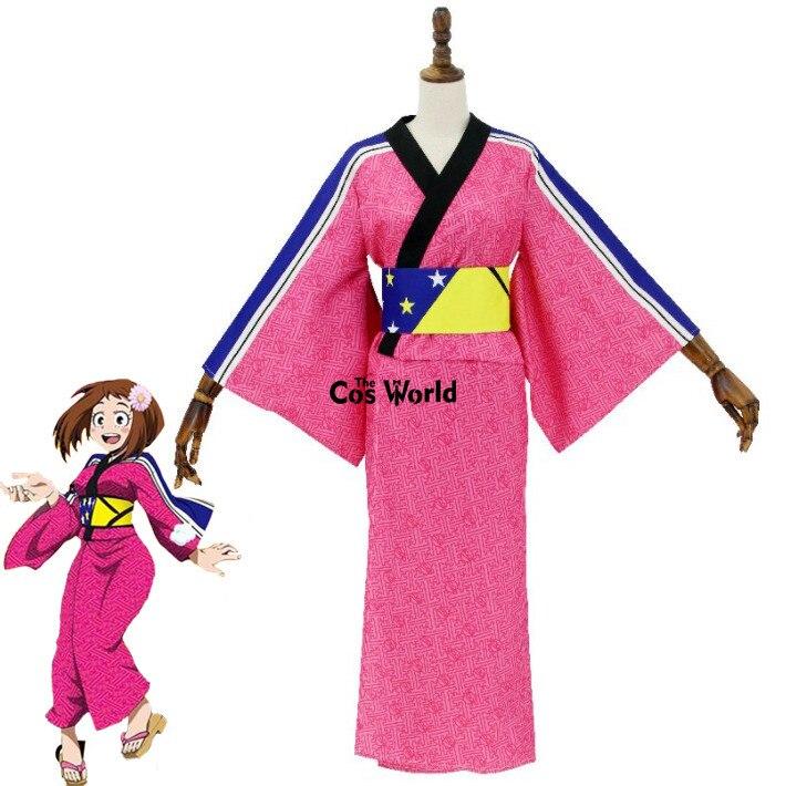все цены на Boku No Hero Academia My Hero Academia Uraraka Ochako Cute Kimono Dress Uniform Outfit Anime Cosplay Costumes