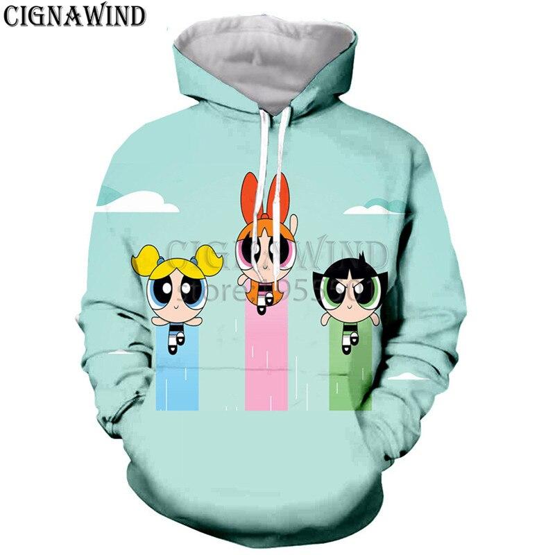 New Harajuku style funny Cartoon hoodies menwomen Power Puff Girls 3D printed hoodie sweatshirt casual Hip hop streetwear tops hoodie
