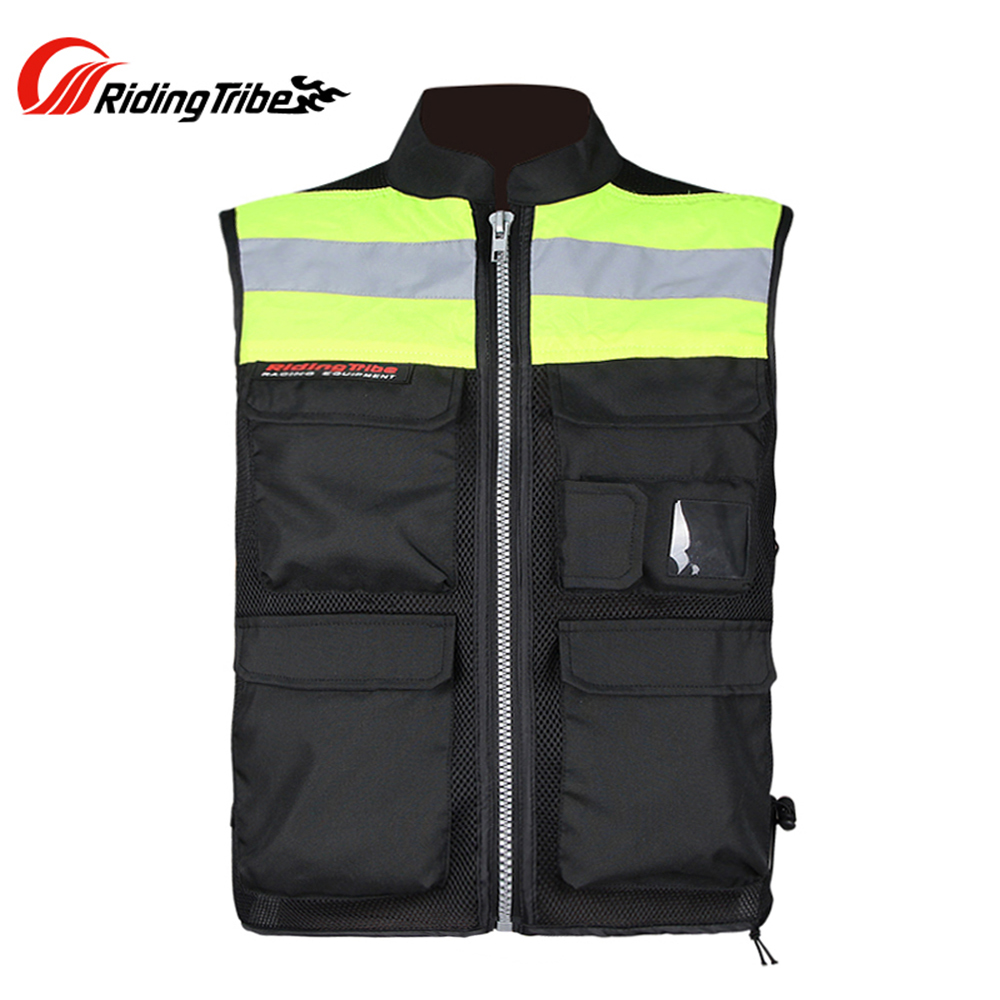 RIDING TRIBE Motorcycle Motocross Vest Riding Racing Team Reflective Vest Safety Fluorescent Jacket Vest Protector adjustable pro safety equestrian horse riding vest eva padded body protector s m l xl xxl for men kids women camping hiking