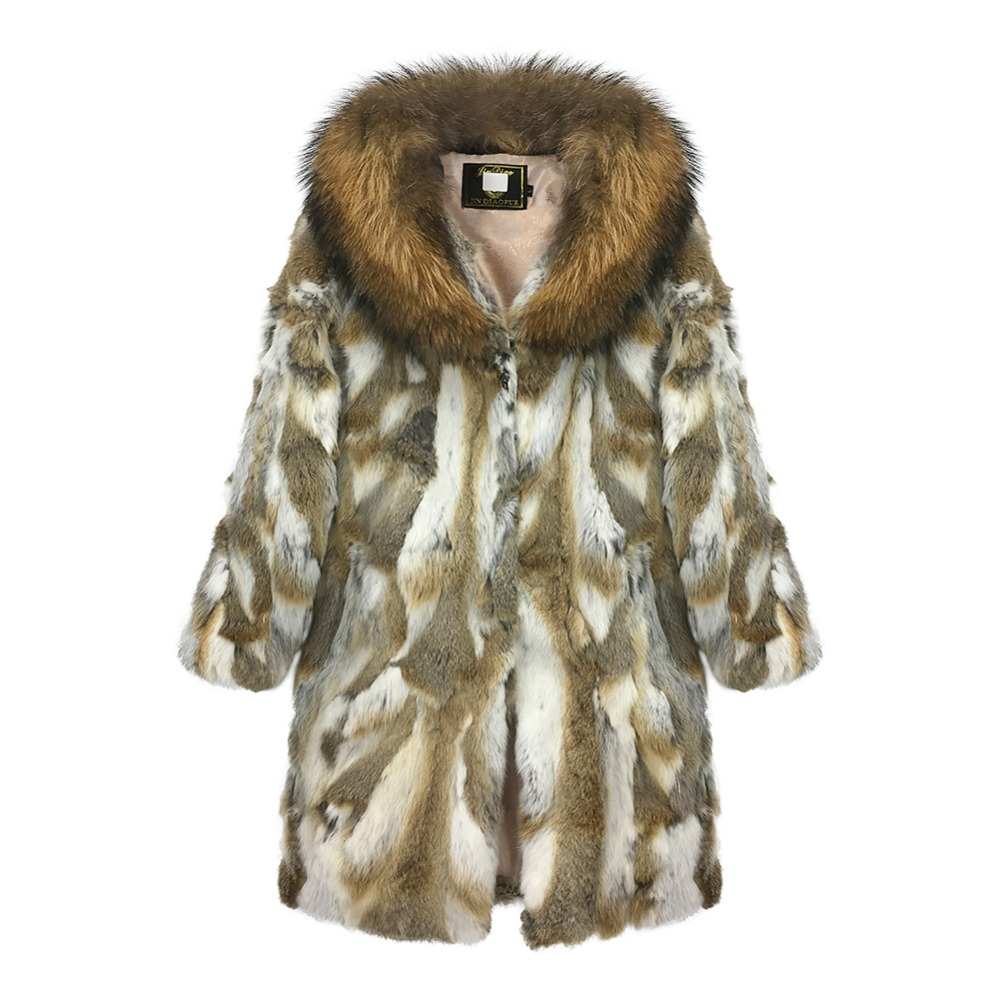 NEW Real Rabbit Fur Coat With Big Raccoon Fur Collar Women Full Pieces Of Natural Rabbit Fur Coats Thick Warm Overcoat Outerwear