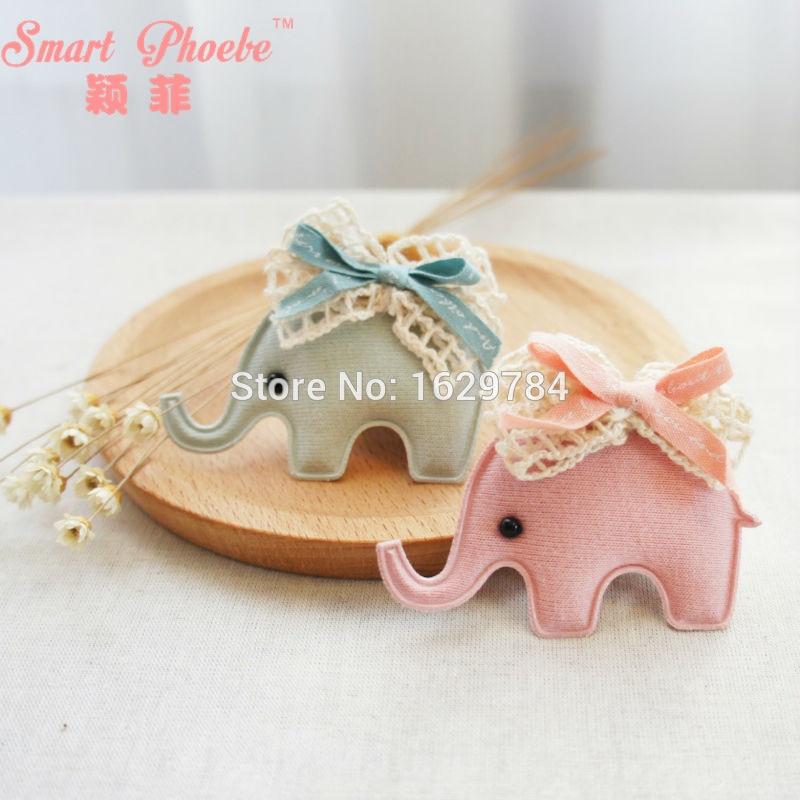Boutique 20ks Pink / Blue Cute Lace Bow Elephant Hairpins Fashion Kawaii Animal Hair Clips Princess Headwear Hair Accessories