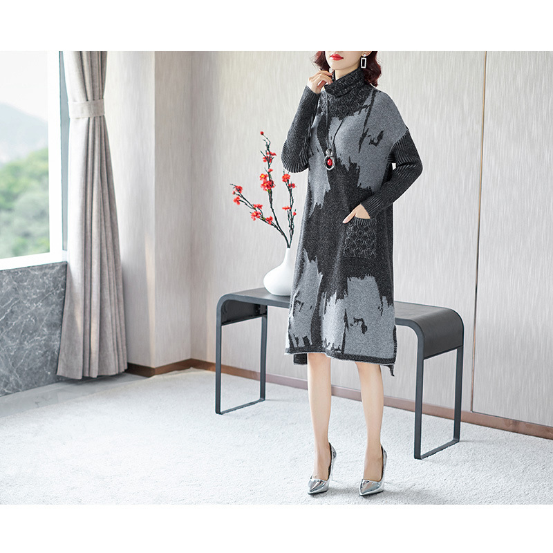 Sweater Dress Woman 2018 Autumn Winter Fashion Women's Printed Turtleneck Long-sleeved Warm Bottoming Knitted Dress Knee Length