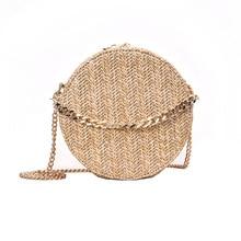 2019 Straw Round Summer Beach Bag Women Shoulder Bags Clutch Purse Womens Handbags Fashion Zipper Circular Bolsa