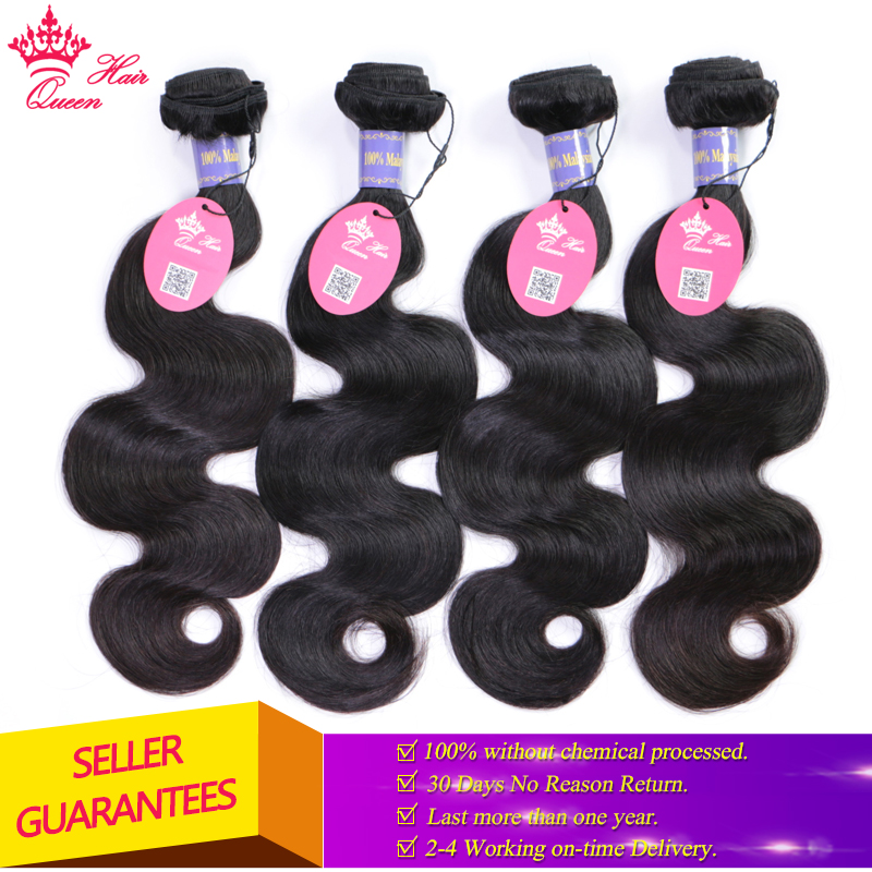 Queen Hair Products Malaysian Body Wave Bundles Natural Color 1B 8 28 Virgin Human Hair Weave