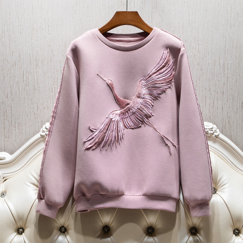 HIGH STREET New Fashion 2018 Designer Sweatshirt Womens Long Sleeve Bird Embroidery Sweatshirt ...