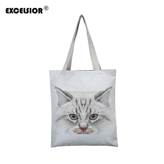 12360a4ff2 EXCELSIOR Lovely Cat Printed Women's Casual Tote Large Capacity Canvas  Female Shopping Bag Ladies Shoulder Handbag