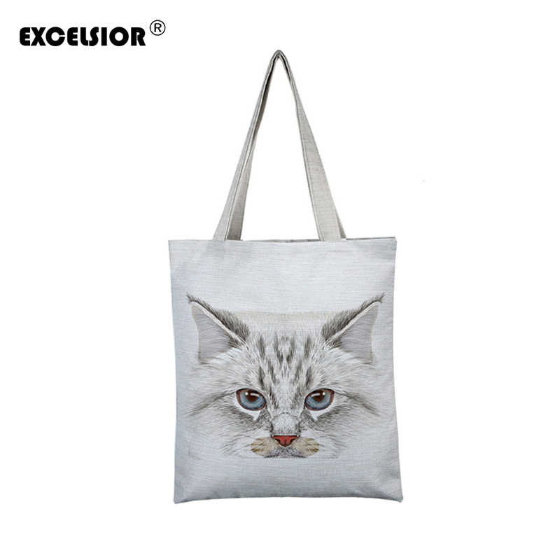 fd0ec604530a5 EXCELSIOR Lovely Cat Printed Women's Casual Tote Large Capacity Canvas  Female Shopping Bag Ladies Shoulder Handbag