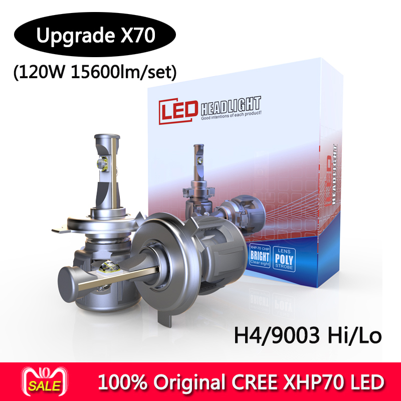 CR-EE XHP-70 X70 Plus Auto LED Bulb Kit H7 H4 LED Motorcycle Headlight Bulb 7800LM 60W Hi/Lo Conversion Kit 6000K Motor Headlamp