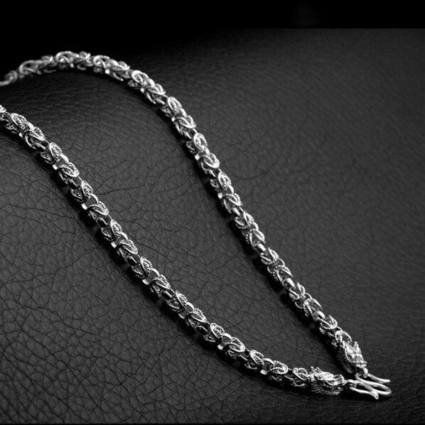 Collier Dragon en argent 925 pour hommes/garçons, collier en argent Sterling avec breloques Dragon de 6mm d'épaisseur - 5