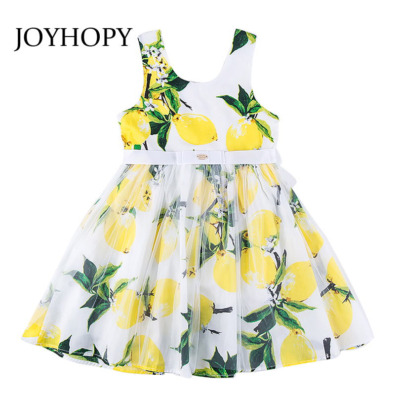 JOYHOPY New Arrival Girl Dress Sleeveless Lemon Princess Kids Girls Clothes for Wedding Party Dresses Children Clothing 3-12Y 2016 new girls clothes 100% cotton cute pink gray lace dress for the girl princess dress art bowknot sleeveless dress