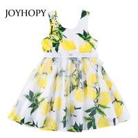 JOYHOPY New Arrival Girl Dress Sleeveless Lemon Princess Kids Girls Clothes For Wedding Party Dresses Children