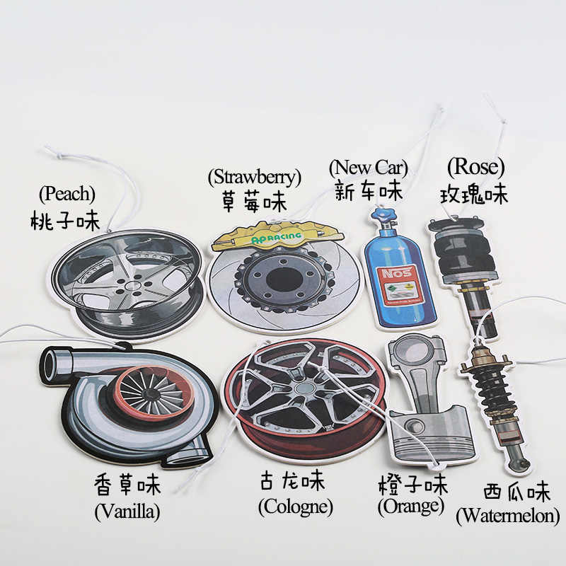JDM Style Car Rear View Mirrow Pendent Air Freshener Solid Paper Piston  Brake Disc Nos Turbo Wheel Rim Shock Absorber