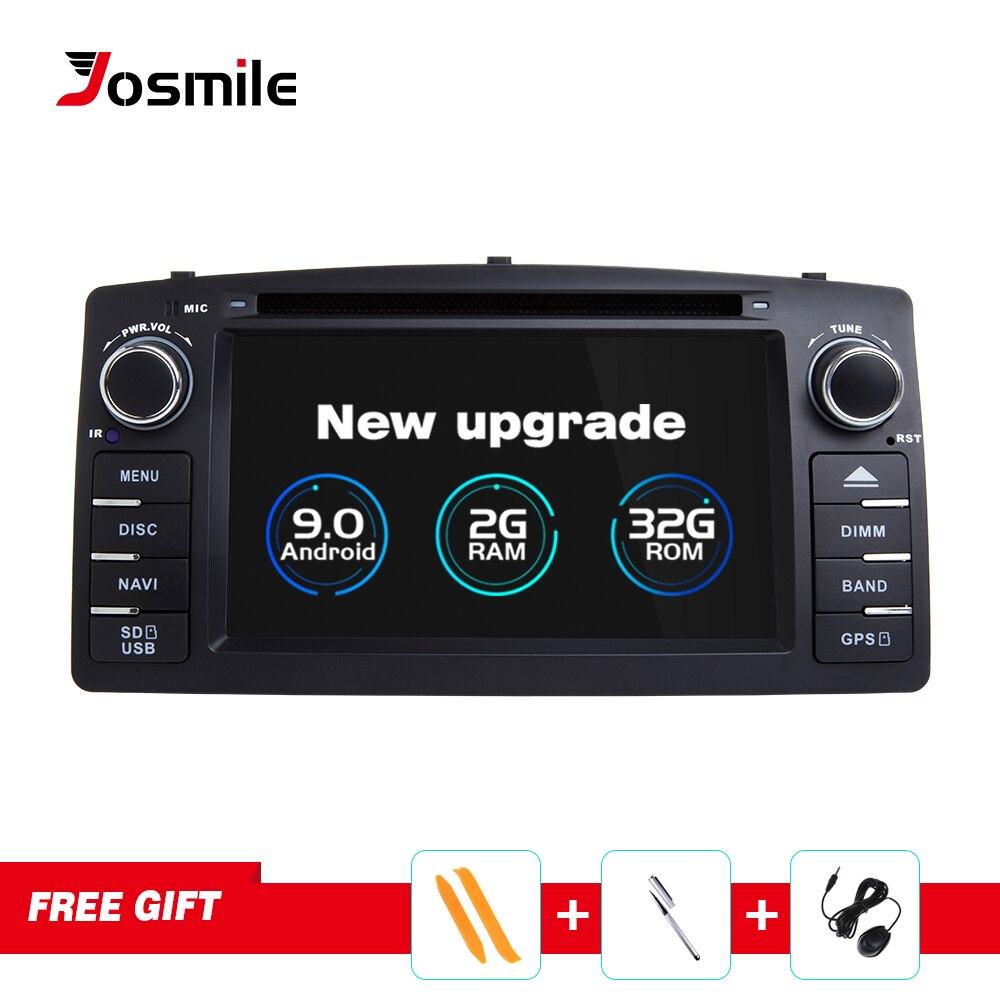 Josmile Android 9.0 2 Din Radio samochodowe samochodowy odtwarzacz DVD dla Toyota Corolla E120 BYD F3 2000 2003 2005 2006 multimedialna nawigacja GPS
