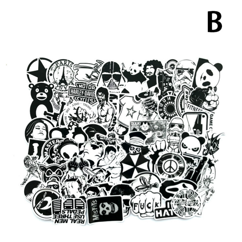 Image 3 - 60Pcs/Lot Black and White Mix Stickers For Laptop Moto/Car Cool Sticker Graffiti Bomb Decals Stickers Skateboard Luggage 2019-in Laptop Skins from Computer & Office