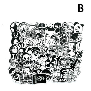 Image 3 - 60Pcs/Lot Black and White Mix Stickers For Laptop Moto/Car Cool Sticker Graffiti Bomb Decals Stickers Skateboard Luggage 2019