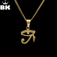 2018 Stainless Steel The Eye Of Horus Charming Pendant Necklace Gold Color Ancient Egyptian Necklace Jewelry With Cuban Chain