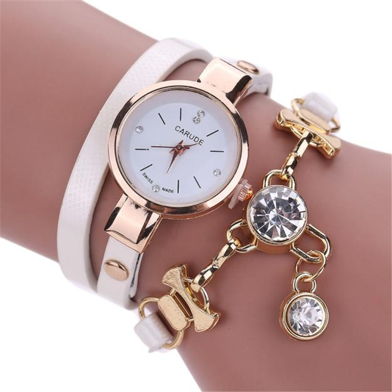 Beautiful Fashion Bracelet Watch Women'S Clock Round Pendant Rhinestone Gift Quartz Movement Ladies Watch Female Relojes Mujer#W