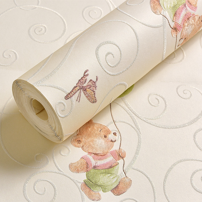 Cartoon Bear Wall Paper Add Thick Children Bedroom Girl Boy Room 3D Nonwoven Wall Paper beibehang wall paper pune girl room cartoon children s room bedroom shop for environmental non woven wallpaper ocean mermaid