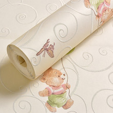 Cartoon Bear Wall Paper Add Thick Children Bedroom Girl Boy Room 3D Nonwoven