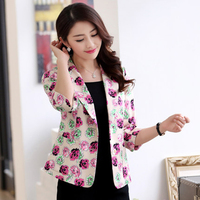 2017 Spring Floral Blazer Women Plus Size Elegant Jackets Female Blazer Feminino Manga Longa Womens Suits