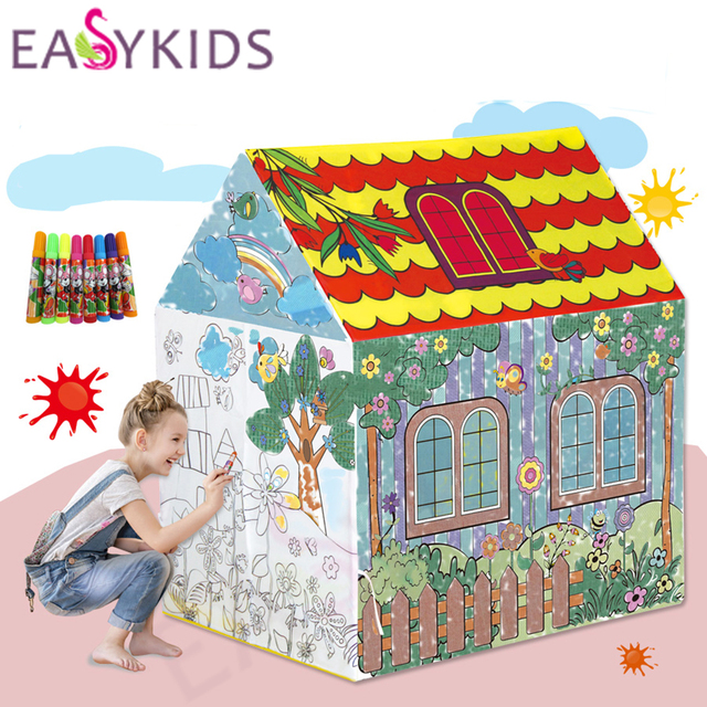 Kids Play Tent Drawing Toy Tent Foldable Portable Girl Princess